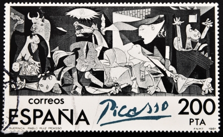 pablo: SPAIN - CIRCA 1981: A stamp printed in Spain shows painting by Pablo Picasso Guernica, circa 1981  Editorial