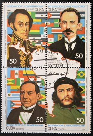 bandera cuba: CUBA - CIRCA 1993: Un sello impreso en Cuba muestra las figuras hist�ricas de la integraci�n de Am�rica Latina, alrededor del a�o 1993 Editorial
