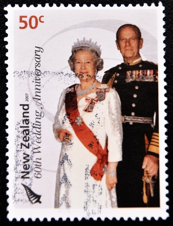 NEW ZEALAND - CIRCA 2007: A stamp printed in New Zealand commemorating the 60th wedding anniversary of Queen Elizabeth II, circa 2007  Stock Photo - 10419688