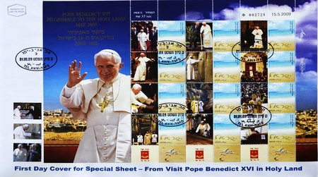 holy land: ISRAEL - CIRCA 2009: A stamp printed in Israel showing visit pope Benedict XVI in Holy Land, serie, circa 2009