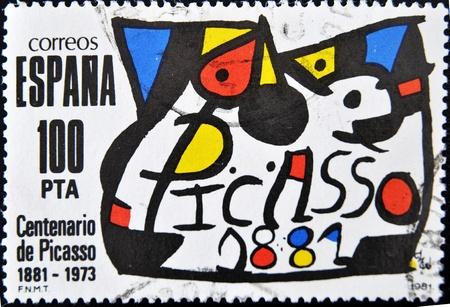pablo: Spagna - CIRCA 1981: Un timbro stampato in Spagna commemorare il centenario della nascita del pittore Pablo Picasso nel 1881, circa 1981