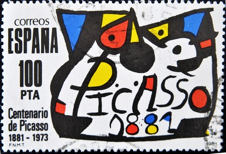 pablo picasso: SPAIN - CIRCA 1981: A stamp printed in Spain commemorating the centenary of the birth of the painter Pablo Picasso in 1881, circa 1981