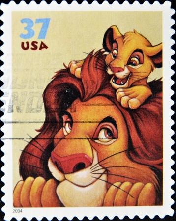disney cartoon: UNITED STATES - CIRCA 2004: stamp printed by United states of America shows cartoon, Disney Characters, Mufasa, Simba, circa 2004