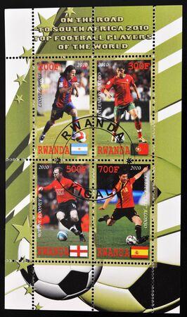 RWANDA - CIRCA 2010: A stamp printed in Rwanda shows top football players of the world, series, circa 2010  photo