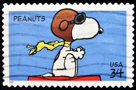 philately: UNITED STATES OF AMERICA - CIRCA 2001: A stamp printed in the United States of America shows image celebrating the cartoon character Peanuts, circa 2001  Editorial