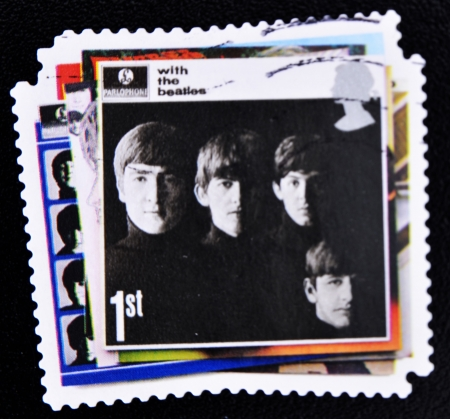 UNITED KINGDOM - CIRCA 2007: A stamp printed in British showing The Beatles Pop Group Album Cover, circa 2007