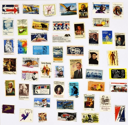 50 different stamps of the United States Stock Photo - 10568816