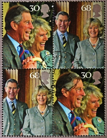 prince charles of england: GREAT BRITAIN - CIRCA 2005: A set of four stamps printed in England commemorating wedding the Prince of Wales and Camilla Parker Bowles, circa 2005.