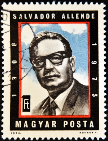 salvador allende: HUNGARY - CIRCA 1974: A stamp printed in Hungary shows Chilean President Salvador Allende, circa 1974