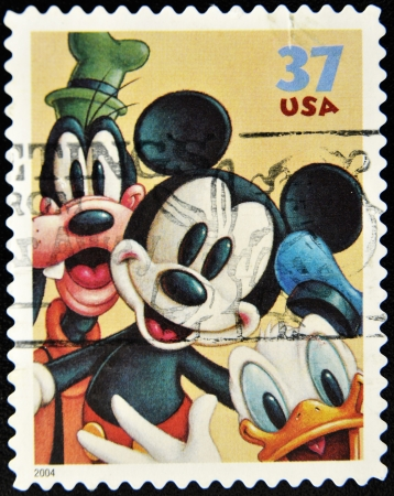 donald: Stamp with Goofy, Mickey Mouse and Donald Duck Editorial