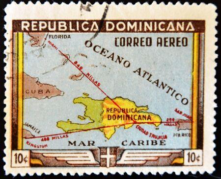 DOMINICAN REPUBLIC - CIRCA 1983: A stamp printed in Dominican Republic shows map of the Dominican Republic, circa 1983  photo