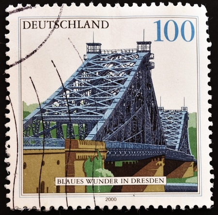 GERMANY - CIRCA 2000: A stamp printed in Germany showing the bridge of Dresden, circa 2000  photo
