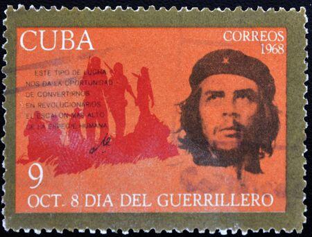 guerrilla: CUBA - CIRCA 1968 : A stamp printed in Cuba shows Ernesto Che Guevara- legendary guerrilla, circa 1968