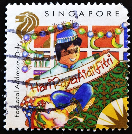 addresses: SINGAPORE-CIRCA 1998: A stamp printed in Singapore shows Christmas (Local Addresses only), circa 1998.