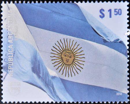 ARGENTINA - CIRCA 2010: A stamp printed in Argentina shows Argentina flag, circa 2010