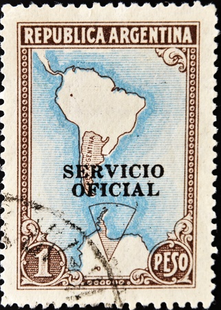 ARGENTINA - CIRCA 1955: A stamp printed in Argentina shows Map of South America, circa 1955 photo