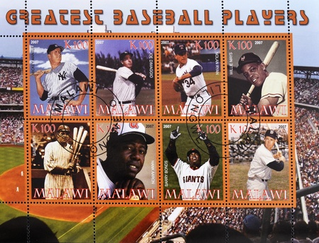 ted: MALAWI - CIRCA 2007: A stamp printed in Malawi shows greatest baseball players, serie, circa 2007