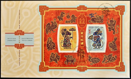 CANADA - CIRCA 2008: A stamp printed in Canada celebrates the Chinese Year of the Rat, circa 2008 Stock Photo - 10766521