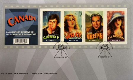 north hollywood: CANADA - CIRCA 2006: A stamp printed in Canada shows Canadian actors who have succeeded in Hollywood, John Candy, Fay Wray, Lorne Greene, Mary Pickford, first day of issue, circa 2006  Editorial