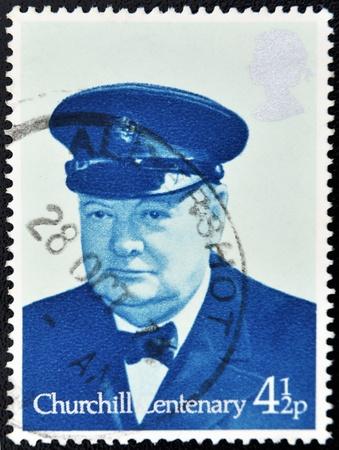 GREAT BRITAIN - CIRCA 1974: a stamp printed in United Kingdom shows Sir Winston Spencer Churchill British statesman, circa 1974 Stock Photo - 10748607