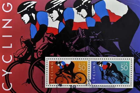 UNITED STATES - CIRCA 1996: stamp printed by United states, shows cyclists, circa 1996 Stock Photo - 10748629