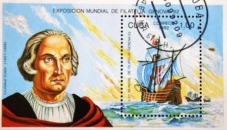 philatelist: CUBA - CIRCA 1992: Ein Stempel in Kuba gedruckt zeigt die Fregatte Schiff von Christoph Kolumbus, circa 1992 Editorial