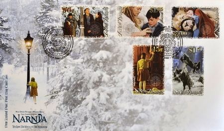 NEW ZEALAND - CIRCA 2005: Stamps printed in New Zealand shows The Chronicles of Narnia, The Lion, the Witch and the Wardrobe, first day cover, circa 2005  Stok Fotoğraf