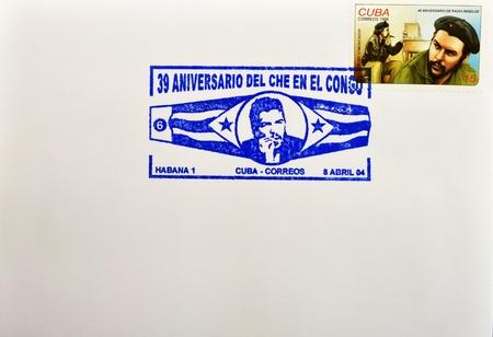 guerrilla: CUBA - CIRCA 1998: A stamp printed in Cuba shows the image of Che Guevara smoking and rebel radio, circa 1998