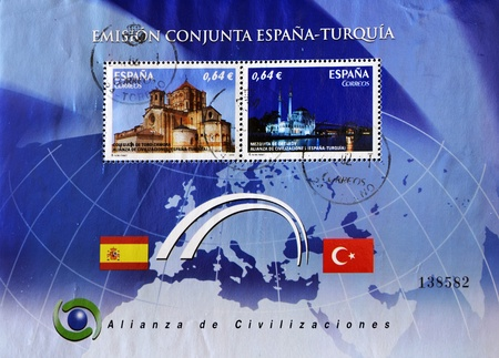 civilizations: SPAIN - CIRCA 2010: A stamp printed in Spain shows the alliance of civilizations between Spain and Turkey, circa 2010