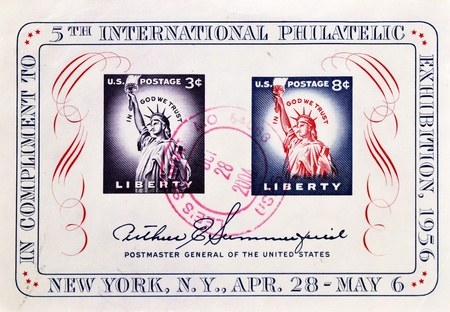 in god we trust: USA - CIRCA 1956: A stamp issued in honor of the 5th International Philatelic Exhibition with inscription New York, April 28-May 6, series, circa 1956  Stock Photo