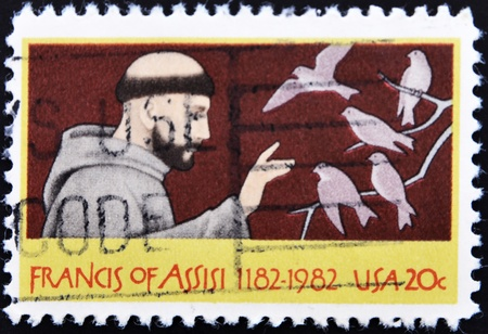UNITED STATES OF AMERICA - CIRCA 1982: A stamp printed in USA shows St. Francis of Assisi, circa 1982