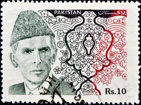 jinnah: PAKISTAN-CIRCA 1994:A stamp printed in PAKISTAN shows image of Muhammad Ali Jinnah was a 20th century lawyer, politician, statesman and the founder of Pakistan, circa 1994.