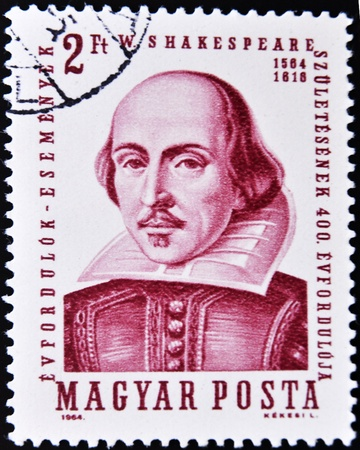 william shakespeare: HUNGARY - CIRCA 1964: A stamp printed in Hungary shows image of William Shakespeare, the playwright, circa 1964