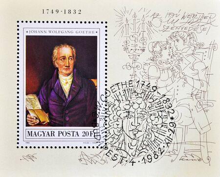 circa: HUNGARY - CIRCA 1982: A stamp printed in Hungary shows Johann Wolfgang von Goethe, circa 1982