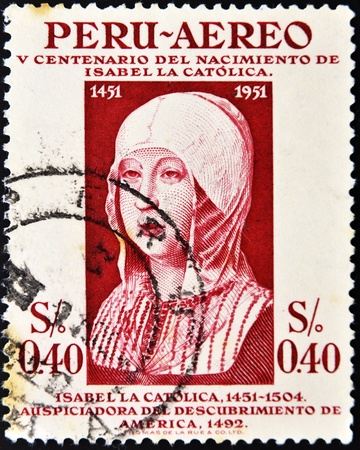 queen isabella: PERU - CIRCA 1951: A stamp printed in Peru shows Isabel the Catholics face, circa 1951