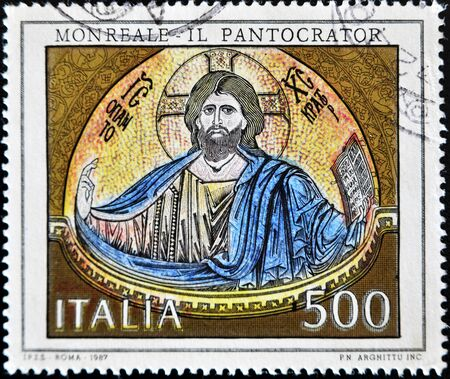 philately: ITALY - CIRCA 1987: A stamp printed in Italy shows the Pantocrator, circa 1987