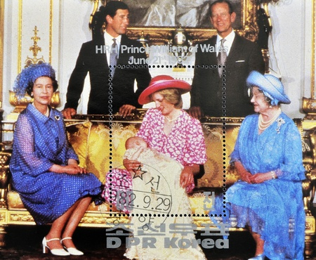 NORTH KOREA - CIRCA 1982: A stamp printed in DPR Korea shows British royal family with Princess Diana of Wales after the birth of Prince William, circa 1982