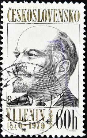 named person: CZECHOSLOVAKIA - CIRCA 1970: A Stamp printed in Czechoslovakia shows Lenin, circa 1970