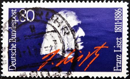 GERMANY - CIRCA 1986: A stamp printed in Germany, shows portrait Franz Liszt, circa 1986.