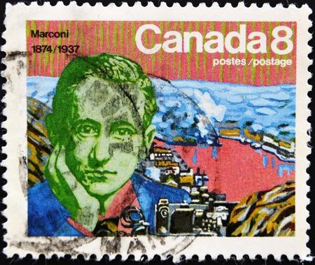 telegraphy: CANADA - CIRCA 1974: stamp printed by Canada, shows Guglielmo Marconi, circa 1974  Stock Photo