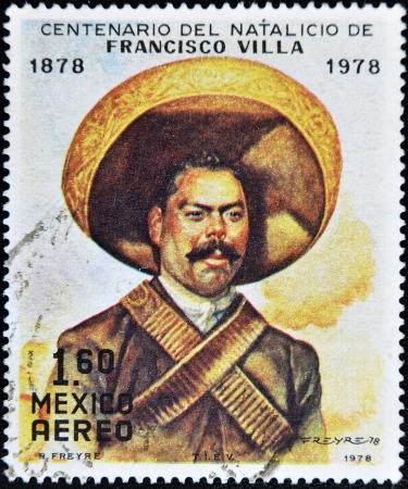 philately: MEXICO - CIRCA 1978: A stamp printed in Mexico commemorates the centenary of the birth of Pancho Villa, circa 1978  Editorial