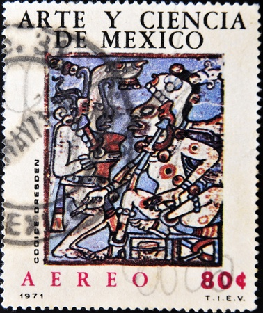 codex: MEXICO - CIRCA 1971: A stamp printed in Mexico shows an image relating to pre-Columbian Mexican art and science, circa 1971
