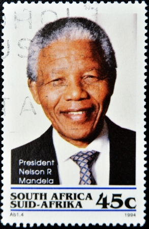 nelson: REPUBLIC OF SOUTH AFRICA - CIRCA 1994: A stamp printed in RSA shows Nelson Mandela, circa 1994