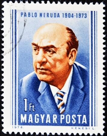 HUNGARY - CIRCA 1974: A stamp printed in Hungary shows Pablo Neruda Chilean poet and Nobel Prize in literature, circa 1974