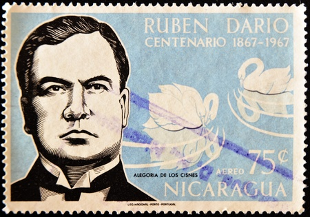 NICARAGUA - CIRCA 1967: A stamp printed in Nicaragua shows the Nicaraguan poet Ruben Dario, circa 1967
