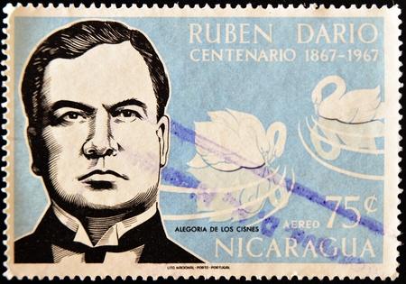 nicaraguan: NICARAGUA - CIRCA 1967: A stamp printed in Nicaragua shows the Nicaraguan poet Ruben Dario, circa 1967