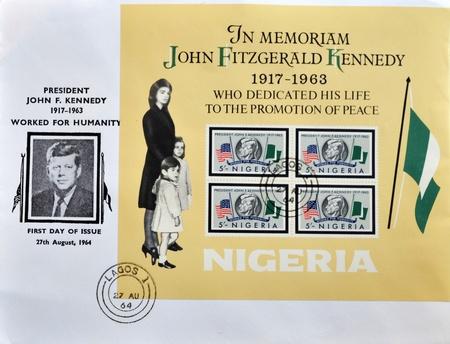 john fitzgerald kennedy: NIGERIA - CIRCA 1964: A stamp printed in Nigeria in memoriam John Fitzgerald Kennedy, first day of issue, circa 1964