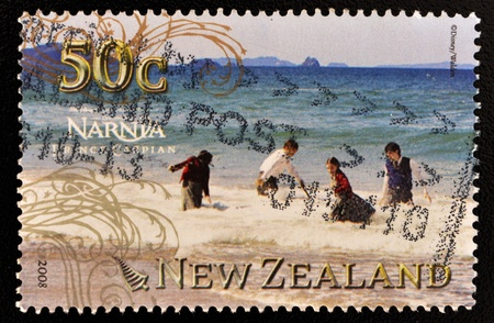 NEW ZEALAND - CIRCA 2008: A stamp printed in New Zealand shows image of the Chronicles of Narnia movie, Prince Caspian, circa 2008 Editöryel