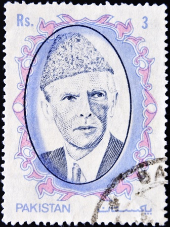 jinnah: PAKISTAN-CIRCA 1952: A stamp printed in PAKISTAN shows image of Muhammad Ali Jinnah was a 20th century lawyer, politician, statesman and the founder of Pakistan, circa 1952.