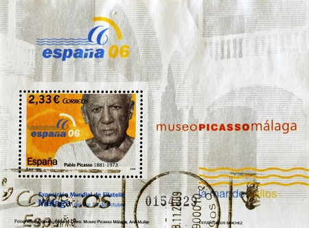 pablo: SPAIN - CIRCA 2006: A stamp printed in Spain shows Pablo Picasso, circa 2006